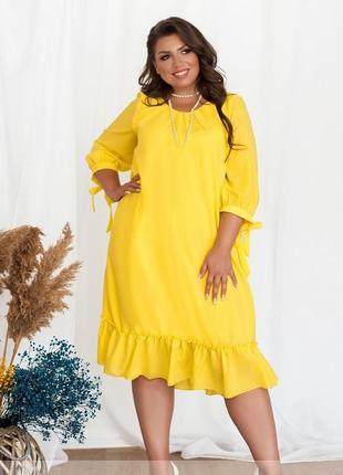 0147  шифоновое яркое платье размеры 52-60