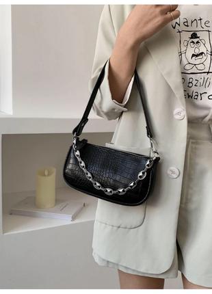 Сумка сумочка багет винтажная с ручкой черная с цепочкой стильная новая