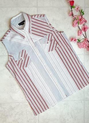 1+1=3 фирменная рубашка блуза блузка безрукавка в полоску biaggini, размер 44 - 46