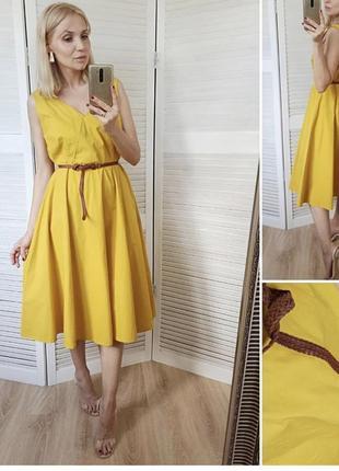 Красивейшие платье миди желто горчичного цвета