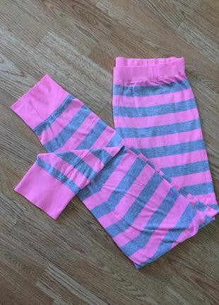 Мягкие домашние штаны лосины, высокая посадка в розово-серую полоску, качество масло