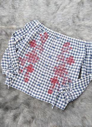 Хлопковая блуза топ кофточка на плечи в клетку