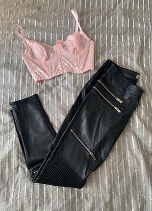 Кожаные штаны, кожаные штаны с замками, кожаные лосины