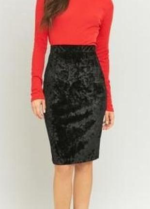1+1=3 черная вельветовая юбка карандаш миди завышенная посадка atmosphere, размер 44 - 46