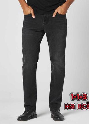 🌿1+1=3 крутые плотные мужские черные прямые джинсы his оригинал, размер 48 - 50