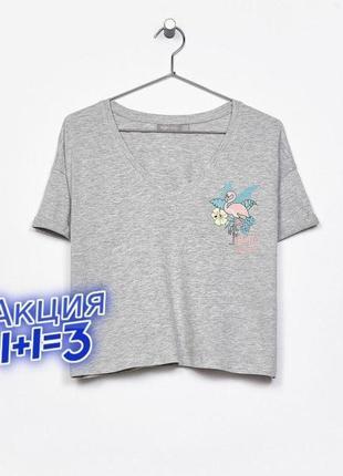 1+1=3 серая женская свободная футболка оверсайз с фламинго bershka, размер 46 - 48