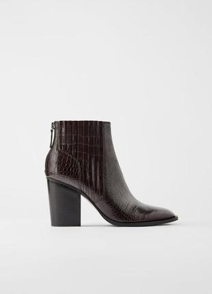 Ботильоны zara ботинки на среднем каблуке обувь zara