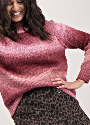 Уютный вязанный свитер градиент с высоким воротом р.18