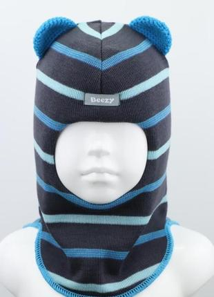 Шапка шлем из 100% шерсти мишка с вязаными ушками тм beezy