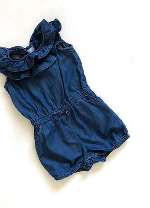 Синий джинсовый котоновый ромпер
