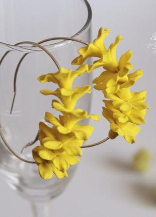 Желтые серьги кольца ручной работы