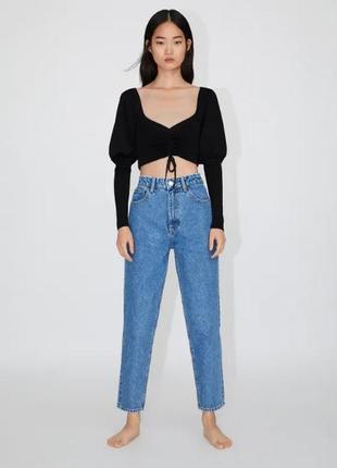 Идеальные джинсы zara mom момы высокая посадка потёртые модель 2020