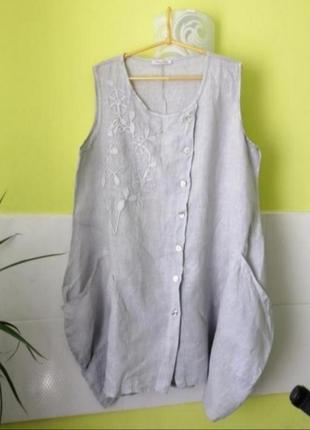 Льняное платье туника лён в стиле бохо италия