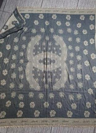 Большой винтажный платок, шарф, шаль, палантин chanel ,италия, оригинал