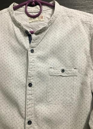 Крутая рубаха рубашка с рукавом воротник стойка нарядная zara boys