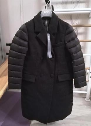 Новое пальто add куртка на пуху пуховик 75% шерсть 100% пух премиум адд италия