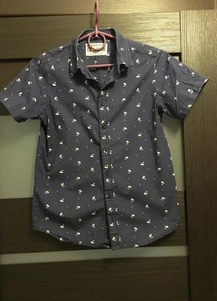 Прикольная тенниска рубашка без рукав синяя  в белые пальмы urbanboys