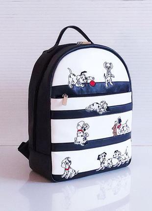Черно-белый школьный рюкзак с собаками новая коллекция качественный экокожа
