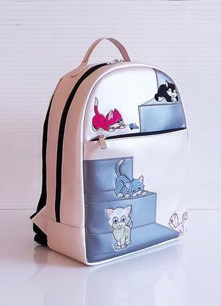 Розовый перламутр школьный рюкзак высококачественная экокожа с кошкой
