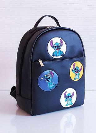 Черный школьный рюкзак с лилостич новая коллекция качественный экокожа