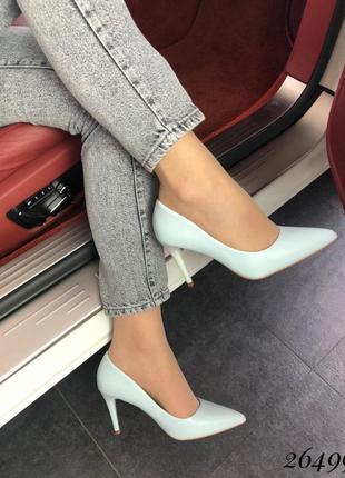 Туфли лодочки голубые
