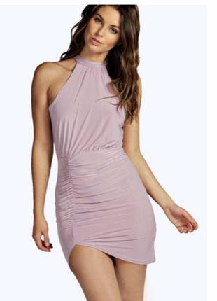 Вечернее красивое лавандовое платье boohoo