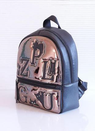 Черный зеркальный рюкзак школьный вместительный экокожа