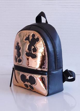 Черный зеркальный рюкзак школьный вместительный экокожа микимаус