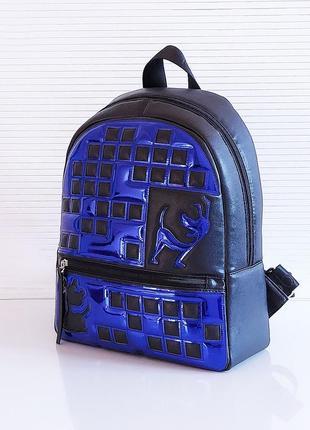 Черный синий зеркальный рюкзак школьный вместительный экокожа