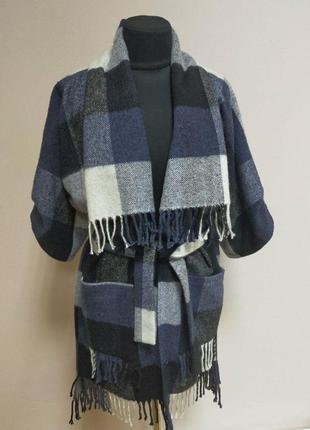 Теплая шерстяная туника, кардиган , пальто в клетку. 44- 52 размер