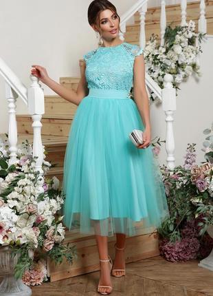 Нежное и воздушное мятное платье миди