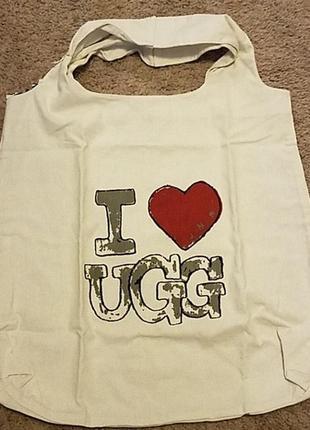 Оригинальная сумка шоппер торба из льна и хлопка ugg