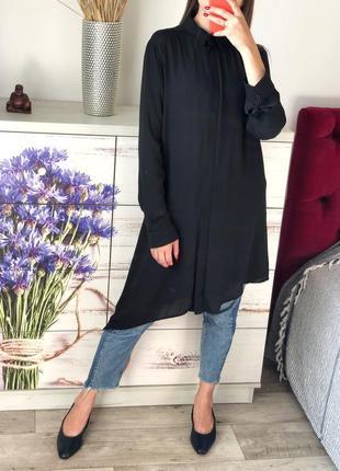Чёрная шифоновая удлинённая блуза