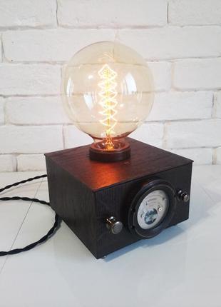 Настольная лампа-ночник куб-сфера-voltmeter с лампой эдисона лофт