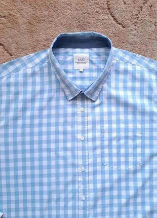 Рубашка белая голубая easy (aнглия), xxxl,  сорочка большого размера , батал.