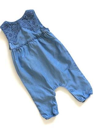 Голубой джинсовый качественный ромпер