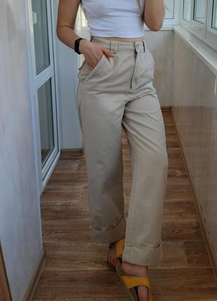Бежевые джинсы кюлоты высокая посадка h&m