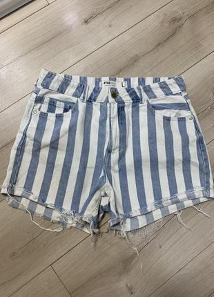 Актуальные полосатые джинсовые шорты высокая посадка