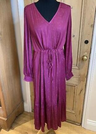 Роскошное сатиновое миди платье