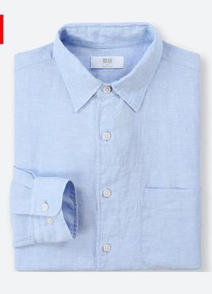 Мужская рубашка из льна серия premium от uniqlo