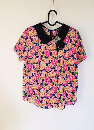 1+1=3 🎁 cutie новая нарядная бойфренд оверсайз цветочная блуза с воротником