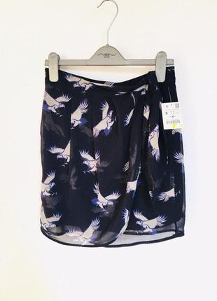 1+1=3 🎁 zara basic новая милейшая юбка с птицами из воздушного шифона на подкладке