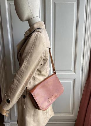 Классическая полностью кожаная сумка кросбоди винтаж