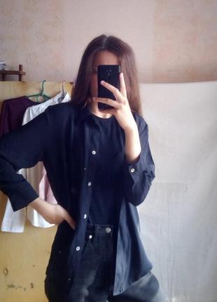 Черная шифоновая рубашка оверсайз