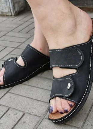Кожаные комфортные шлёпки, регулируется полнота, на липучках, 42размер (27см)