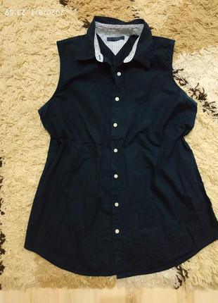 Брендовая рубашка tommy hilfiger  без рукавов л-хл (можно меньше)