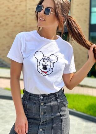 Хлопковая футболка с микки с вышивкой