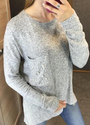 Серый свитер удлиненный универсальный one size over size