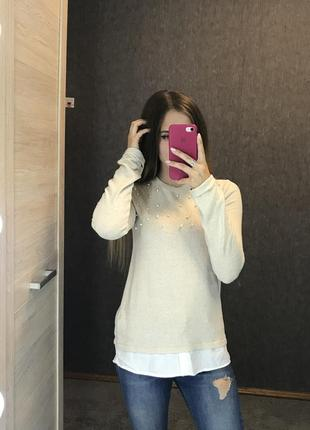 Кофта свитер джемпер с имитацией рубашки блузки с бусинками