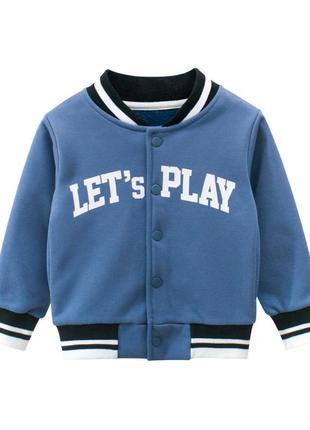 27 kids бомбер для мальчика утепленный let's play, синий